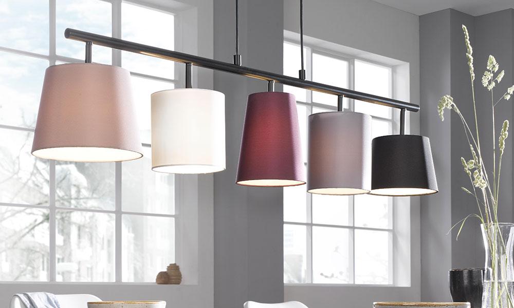 Stylische Esszimmerlampe mit bunten Schirmen - Möbel Schulze