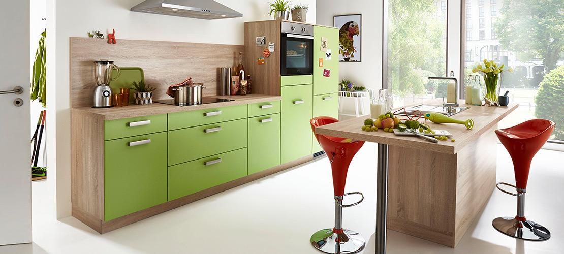 Küchenzeile mit grüner Front - Mobile Rödental