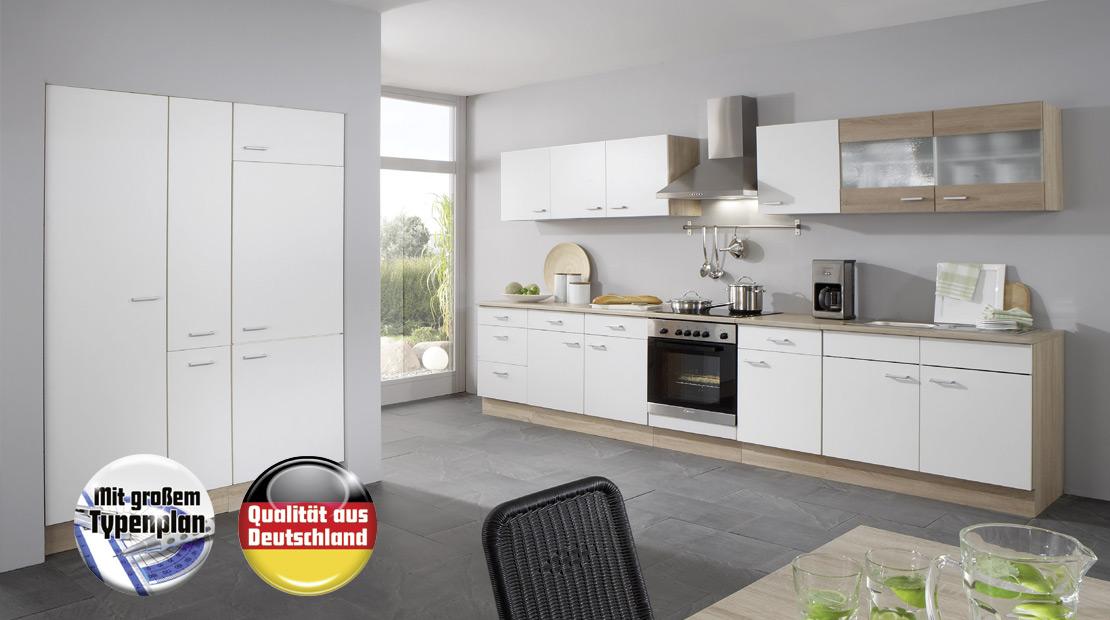 flexible Küche - Eiche Nachbildung - weiße Front