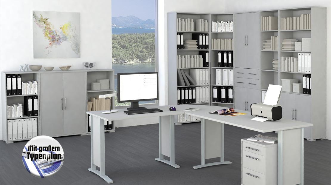Professionelle Büromöbel mit lichtgrauer Front