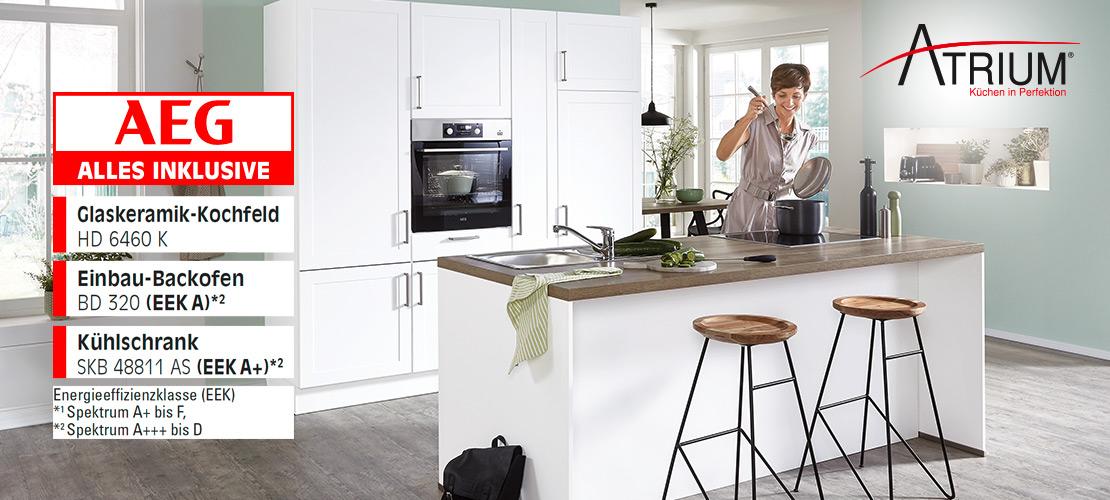 Einabuküche mit Kochinsel inkl. Elektrogeräte von AEG   Küchenarena Rödental