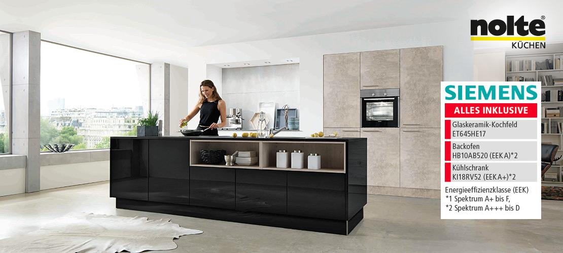Elegante Inselküche von nolte | Siemens-Geräte inklusive