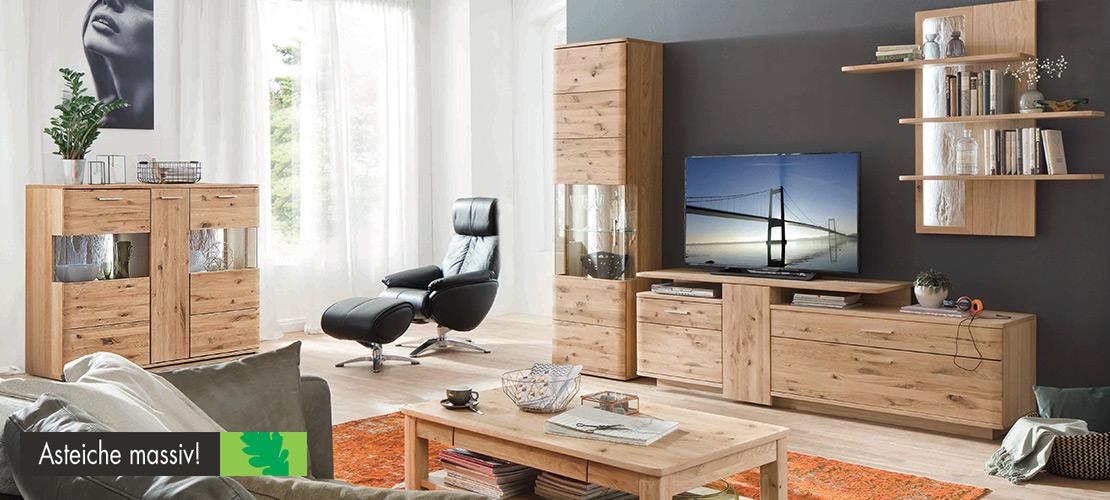 Wohnwand   Asteiche massiv   Möbel Schulze