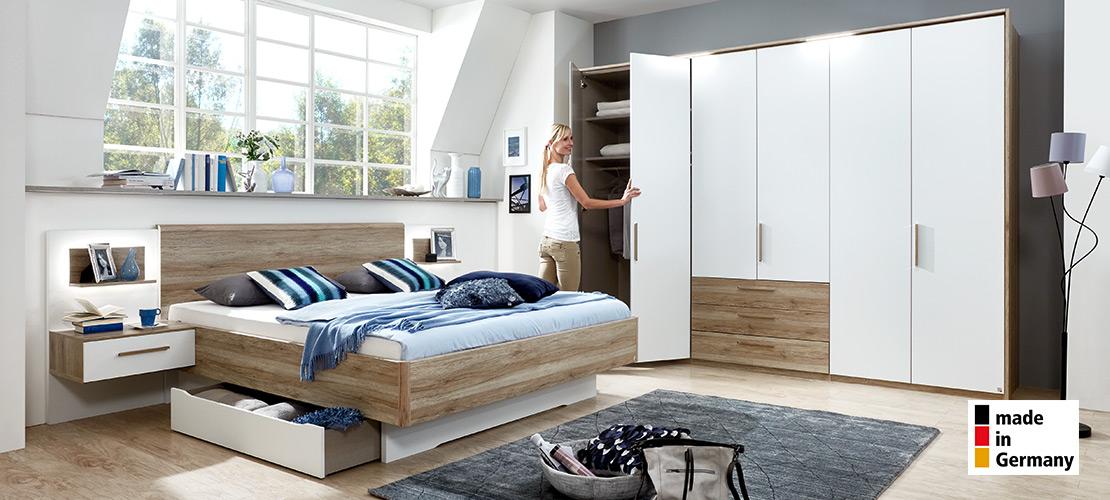 Schlafzimmer komplett | Bett mit Hängekonsolen und Funktionsschrank