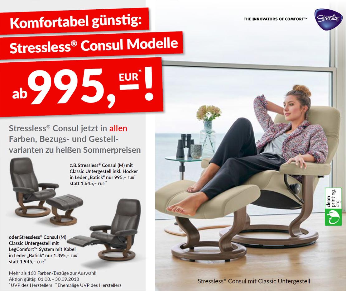 Stressless® Consul mit Untergestell und Hocker | Möbel Schulze