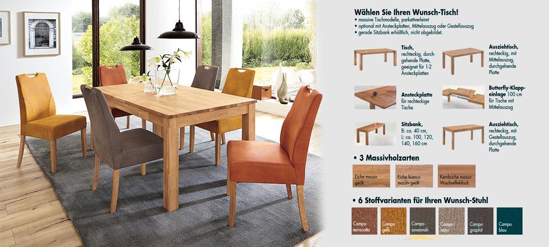 Moderne Esszimmermöbel   mit massiver Esstisch zum Ausziehen und Polsterstühlen