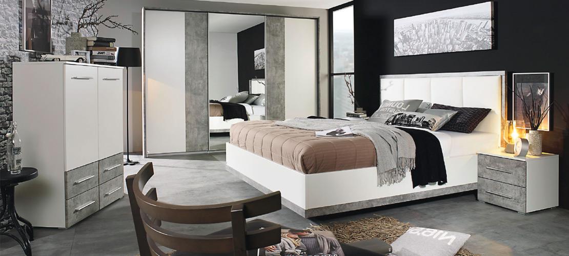 Schlafzimmer | Bett, Kommode, Schwebetürenschrank Und Nachttische In  Weiß Grau | MOBILE