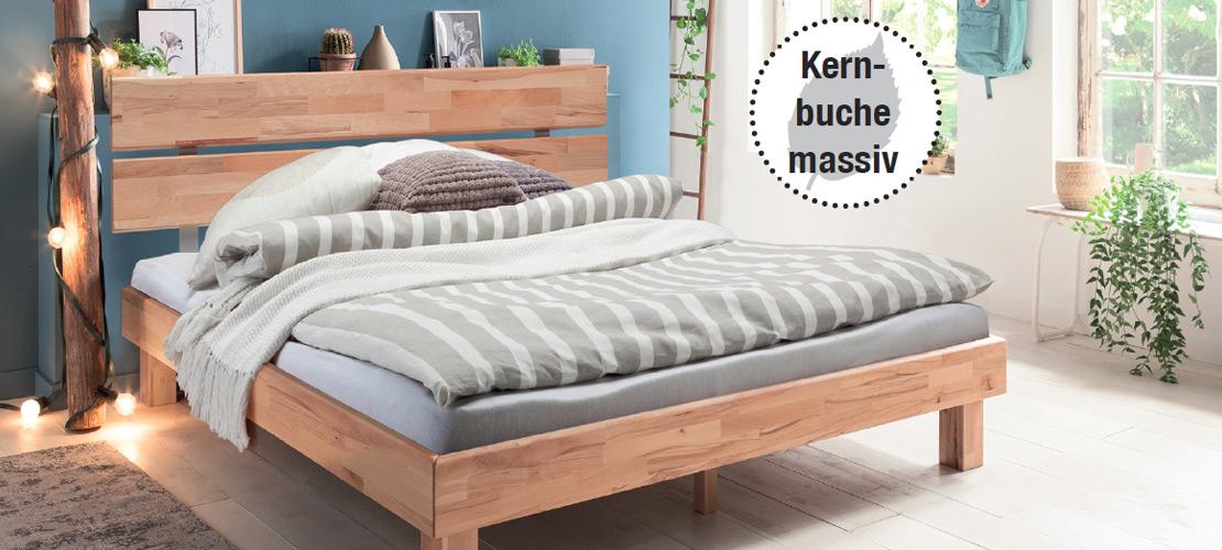Schlafzimmer   Bett - Kernbuche massiv   Möbel Schulze