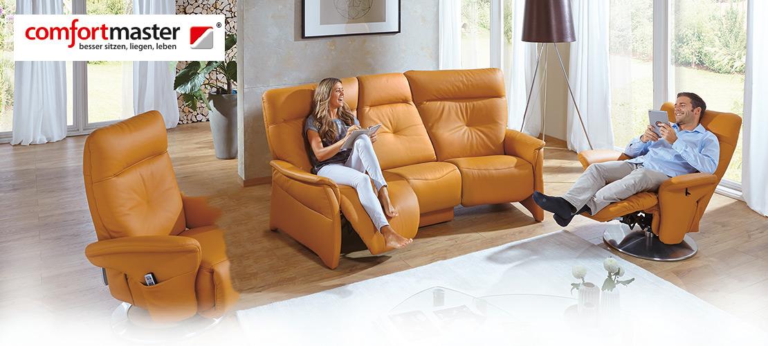 Polstermöbel - Wohnzimmer | Comfortmaster | Maisfarbenes Leder