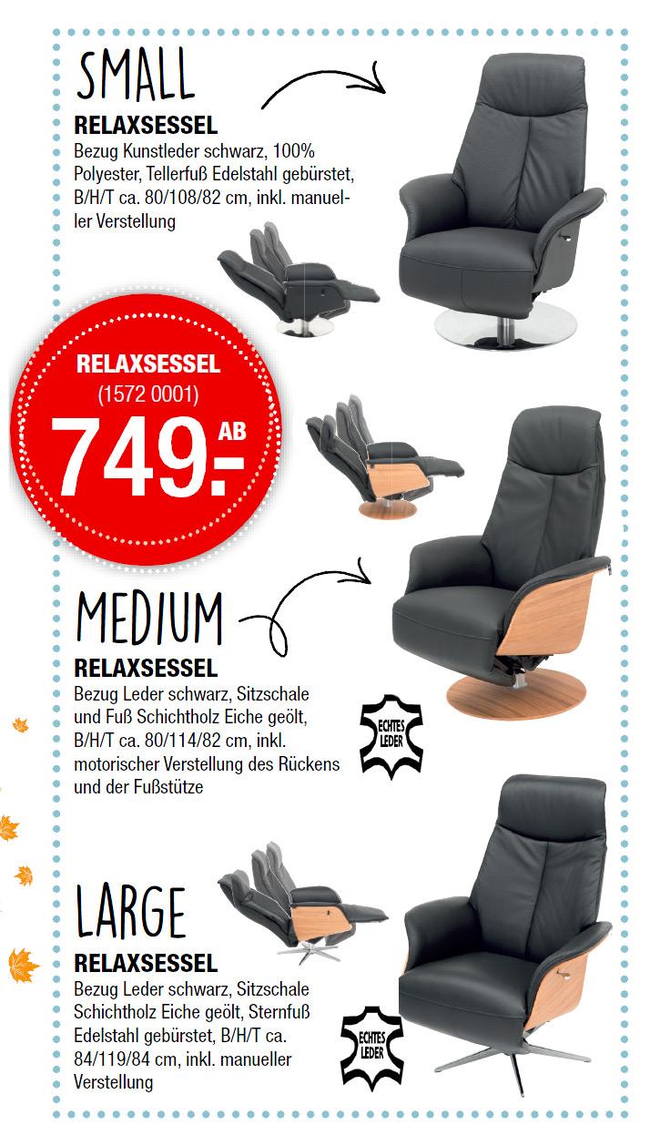 Schwarzer Relaxsessel in 3 Größen   Bezug Kunstleder   Möbel Schulze