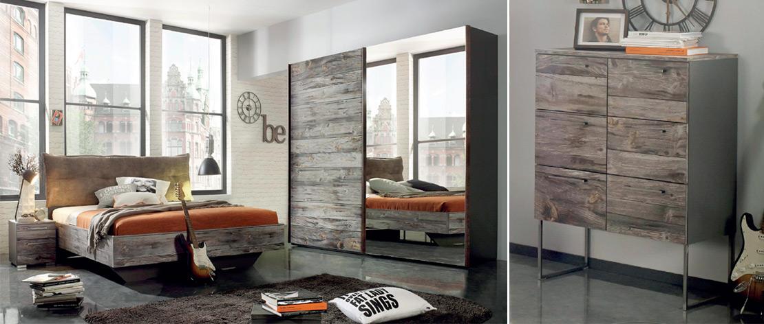Schlafzimmer-Möbel   Polsterbett - Schwebetürenschrank - Nachtkommode