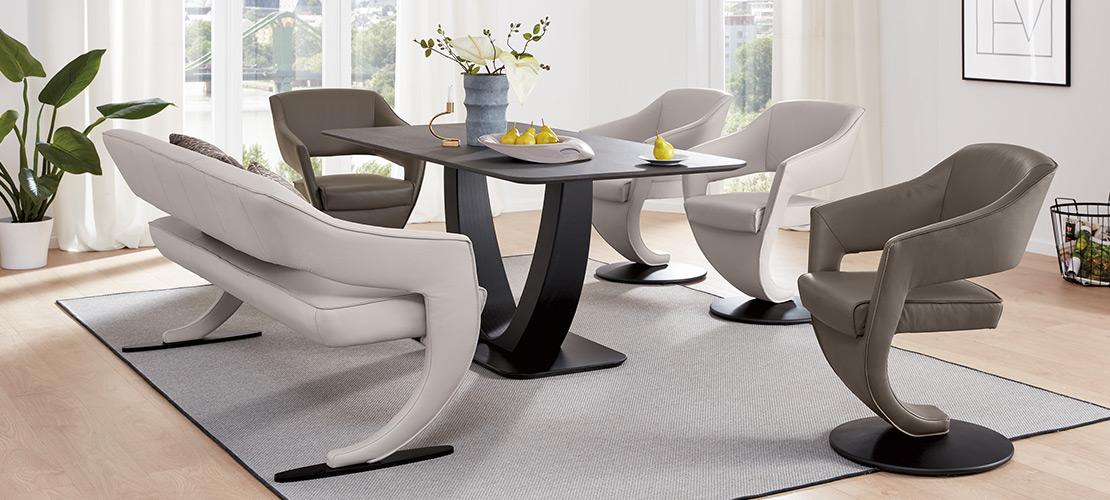 Design-Speisezimmer | Solobank, Esstisch und Design-Drehsessel