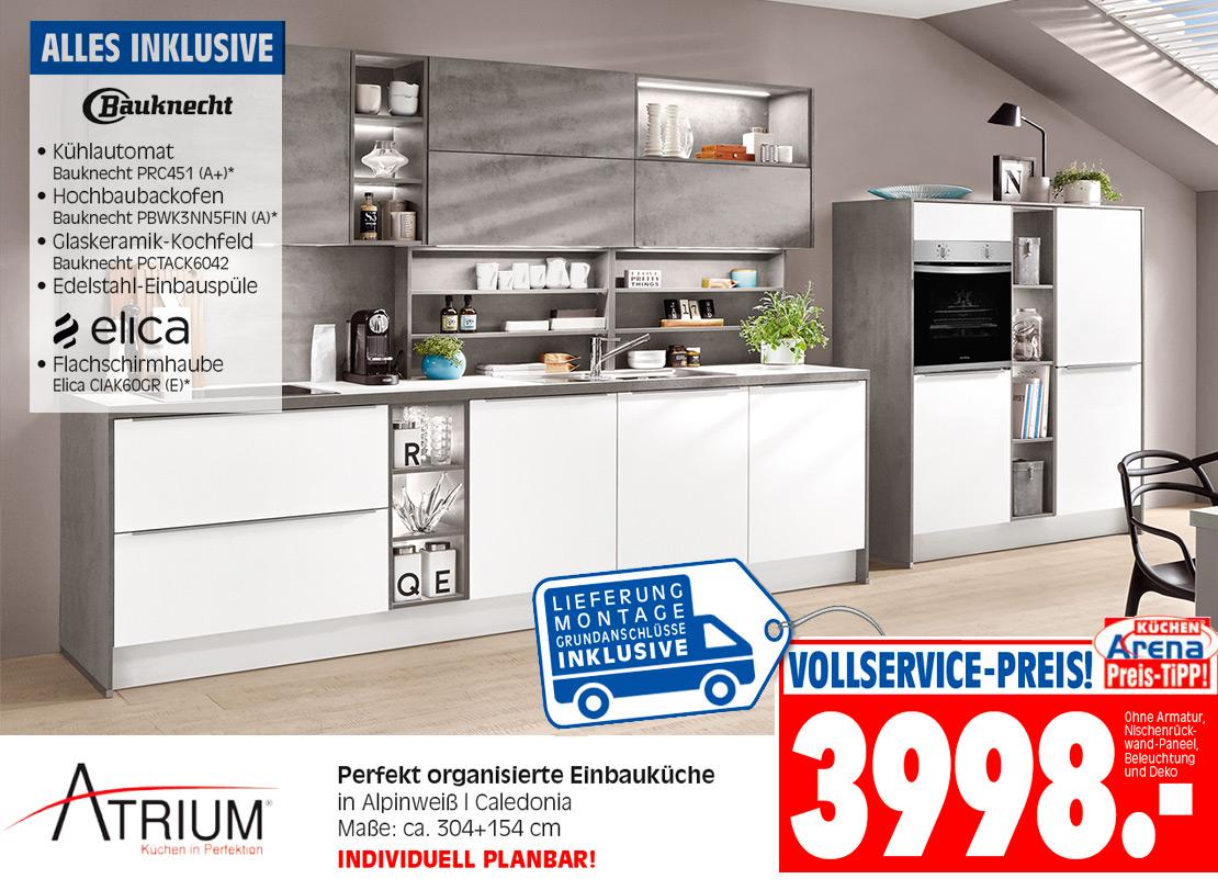 Atrium-Einbauküche in Alpinweiß & Caledonia | Möbel Schulze