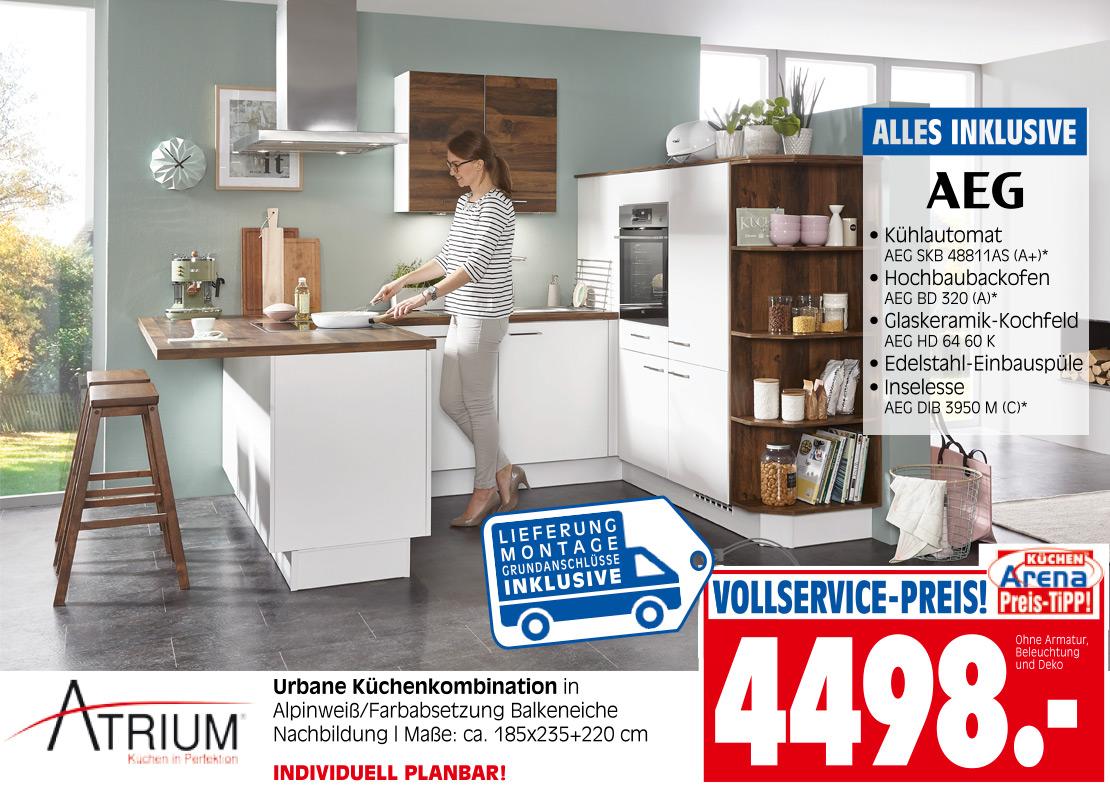 Urbane Atrium-Küchenkombination in Alpinweiß und Balkeneiche | Möbel Schulze