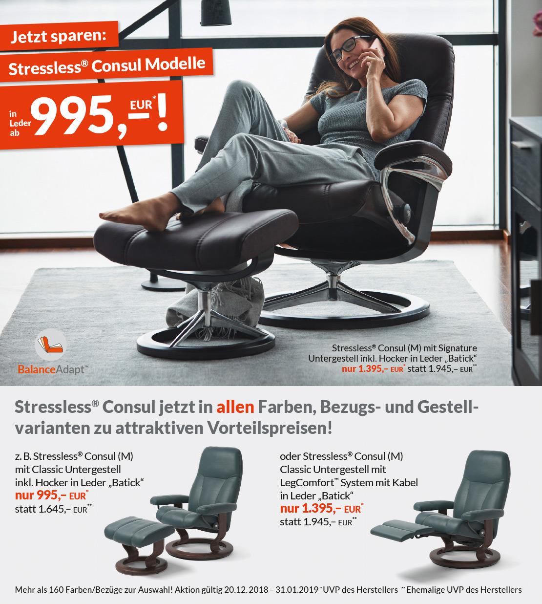 Stressless® Consul Modelle inklusive Hocker - in Leder und verschiedenen Farben