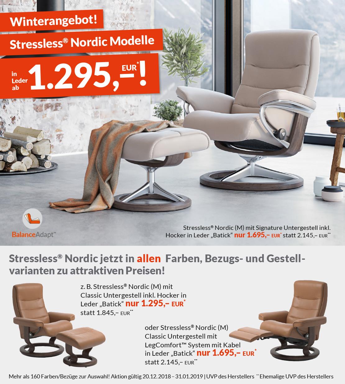 Stressless®Nordic Modelle - inklusive Hocker | Leder | in verschieden Farben erhältlich