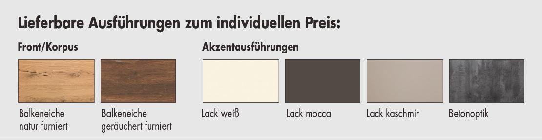 Lieferbare Ausführungen - Holzsorten   Möbel Schulze