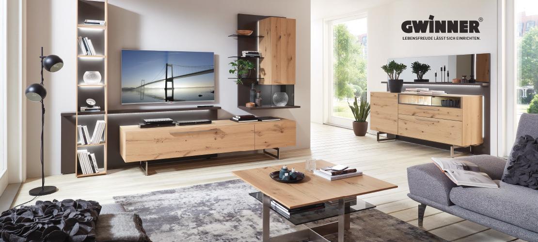 GWINNER - Wohnzimmermöbel   Wohnwand - Sideboard - Couchtisch