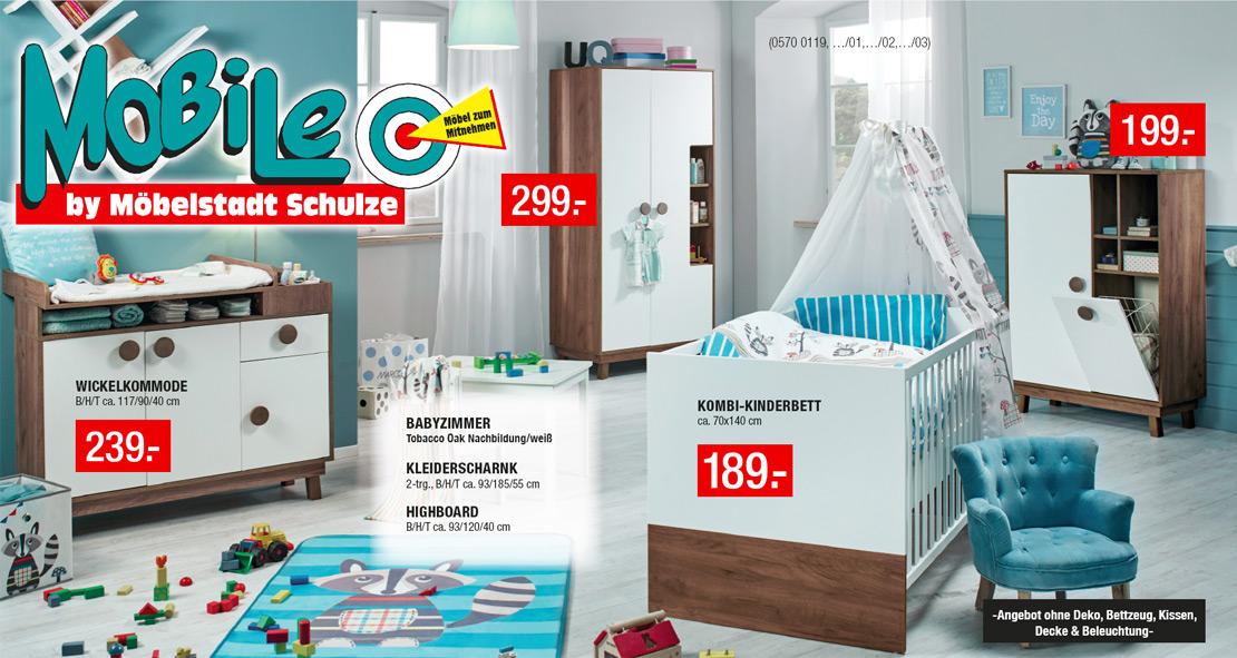 Babyzimmer - Kinderbett - Wickelkommode - Kleiderschrank - Highboard