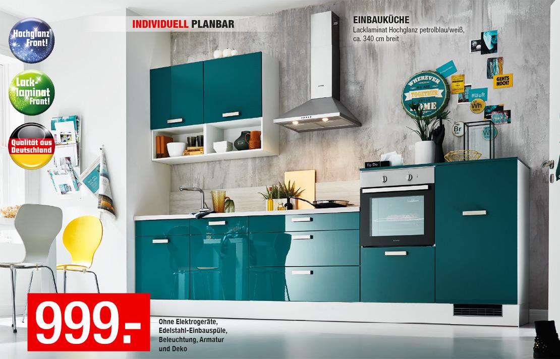 Moderne Einbauküche - Petrol hochglanz - Individuell planbar