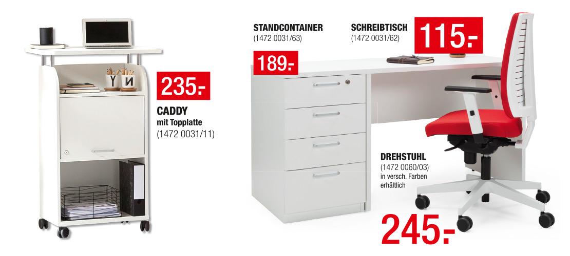Büromöbel - Caddy, Schreibtisch mit Standcontainer und Bürostuhl