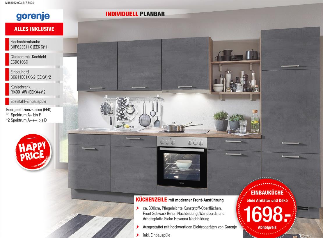 Küchenzeile - Front Schwarz-Beton-Nachbildung - inklusive Elektrogeräten von Gorenje | Möbel Schulze