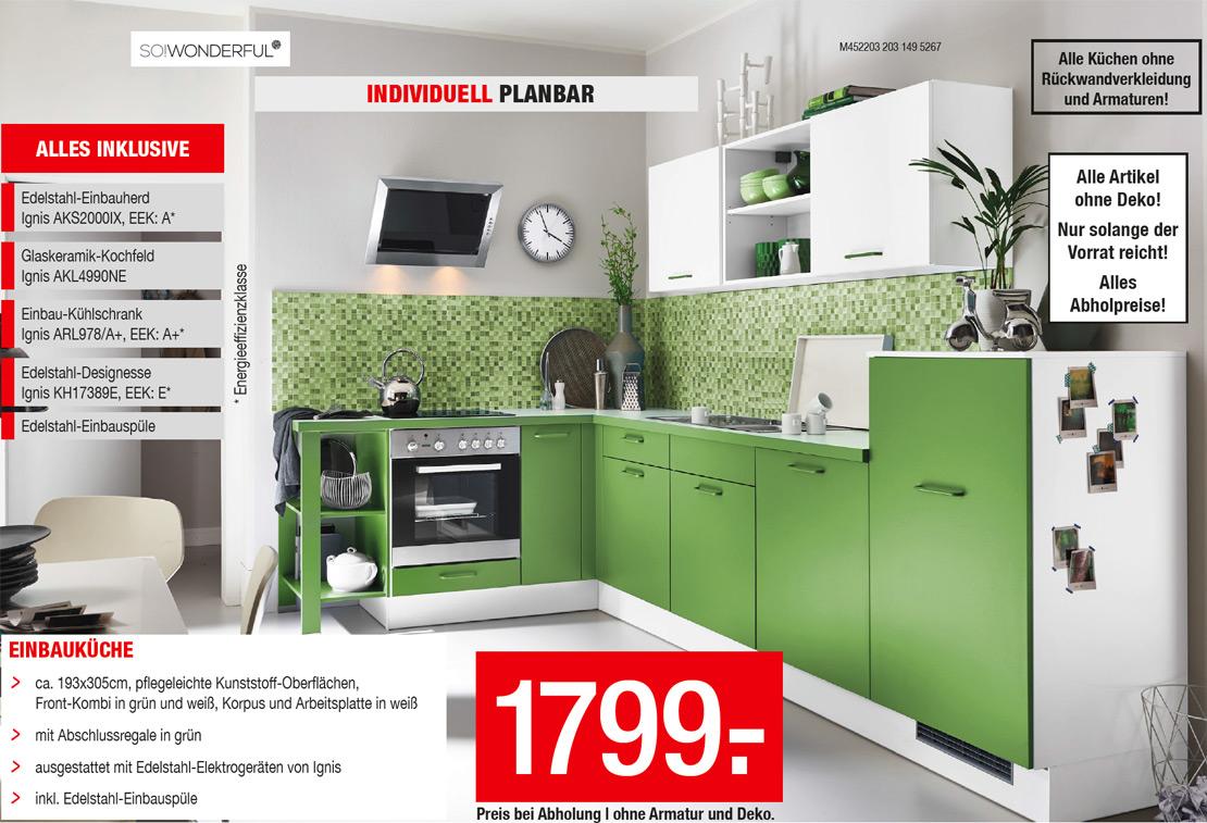 Grüne Einbauküche mit Elektrogeräten