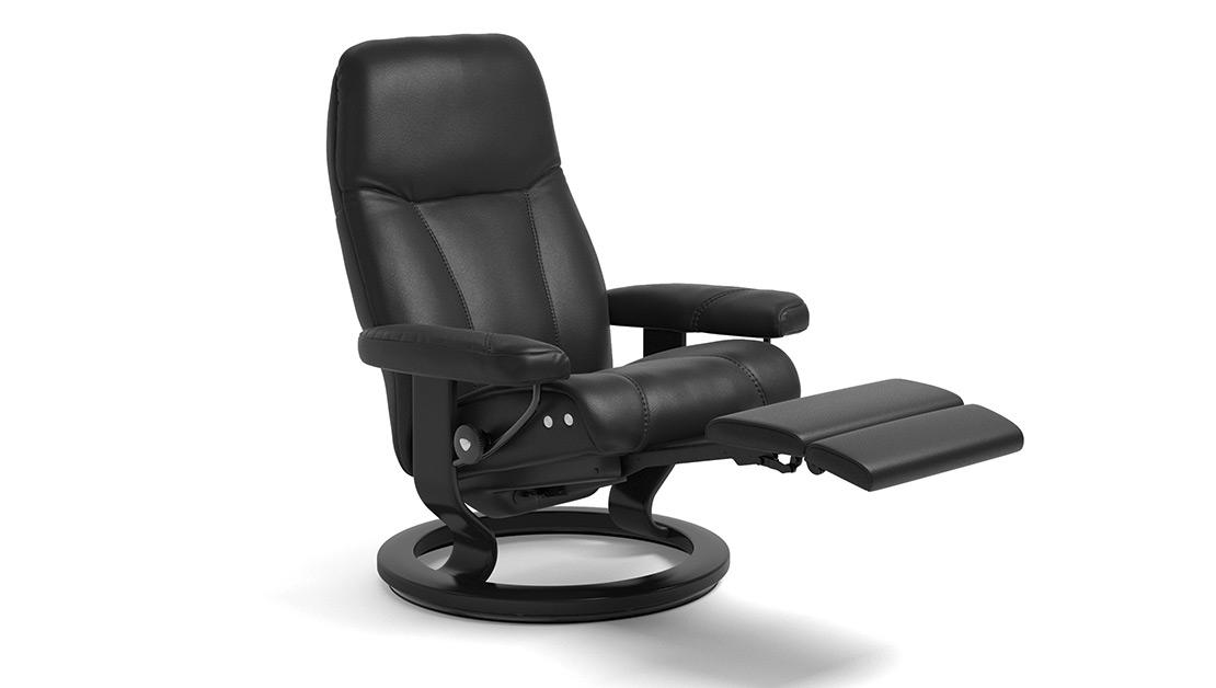 Stressless Consul Sessel - mit LegComfort in schwarzem Leder