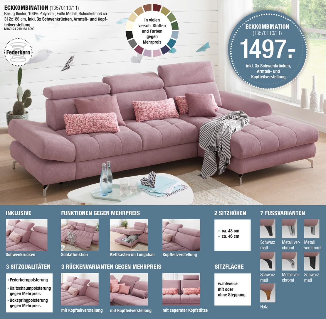 Eckcouch - Sofa in Rosa - KAWOO