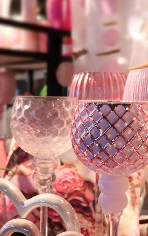 Rosa Kerzenständer und Deko | Möbel Schulze