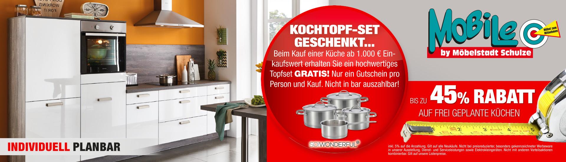 Rabatt auf frei geplante Küchen | Mobile | Möbelstadt Schulze