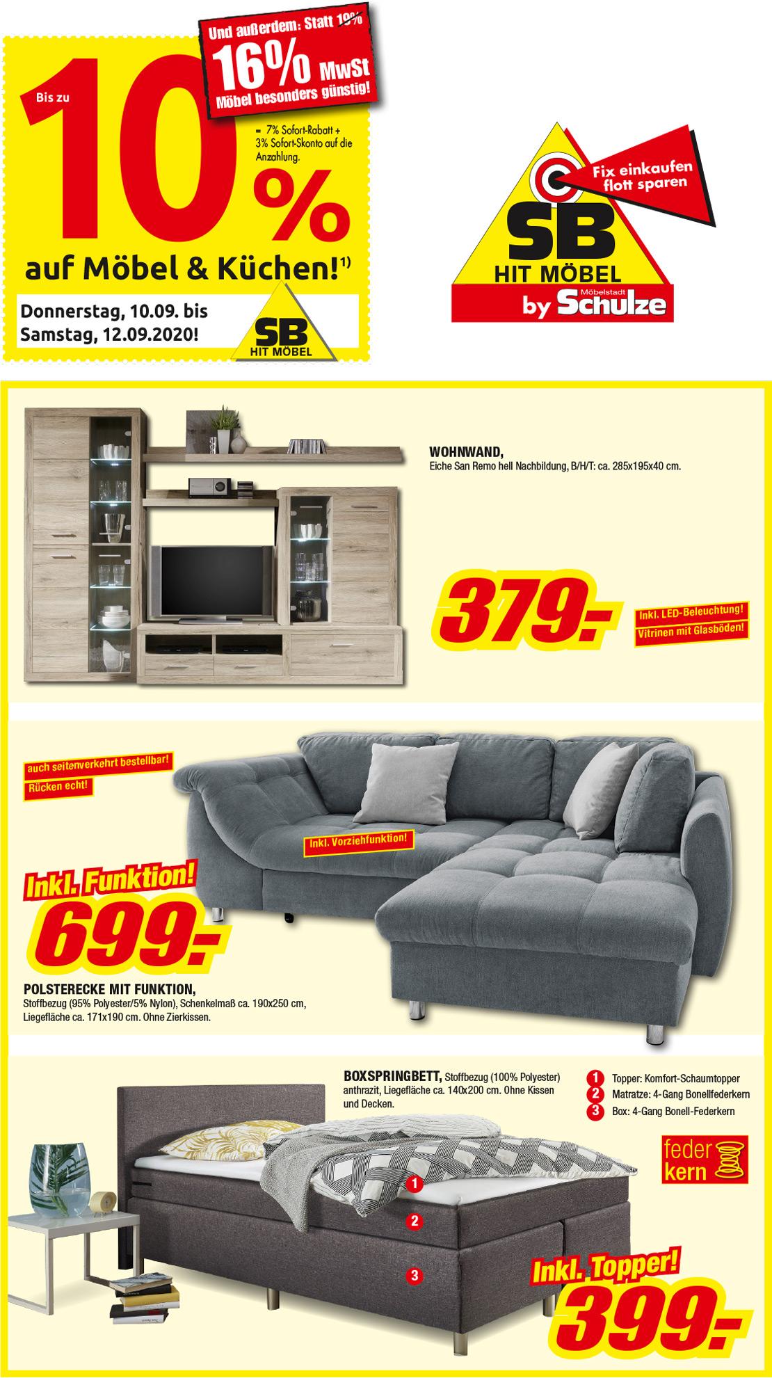 Sofort mitnehmen & sparen im SB HIT und Mobile - Möbel Schulze